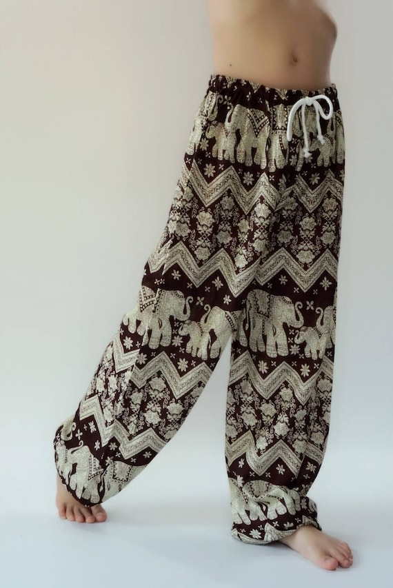 Cotton Bohemian Patchwork Holiday Trouser Cargo Traditional Symbol Hippie Pants