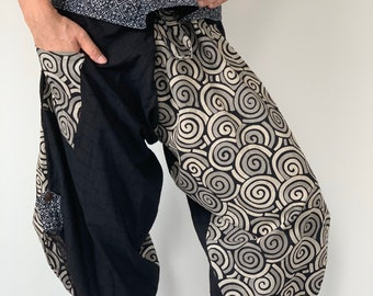 SR0094 Samurai Pants Harem pants have fisherman pants style wrap around waist