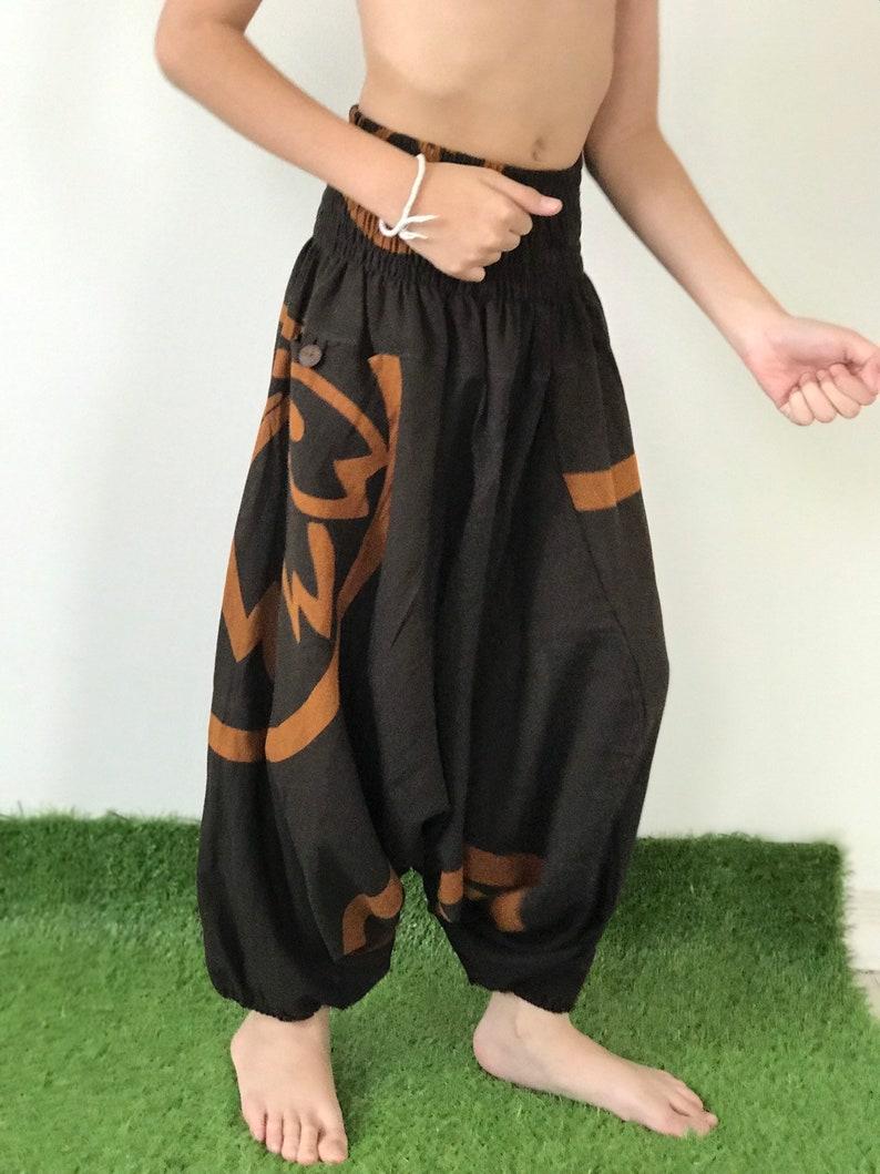 KD0305 Kids Samurai Pants Harem Pants Unisex Low Crotch Yoga Trousers,