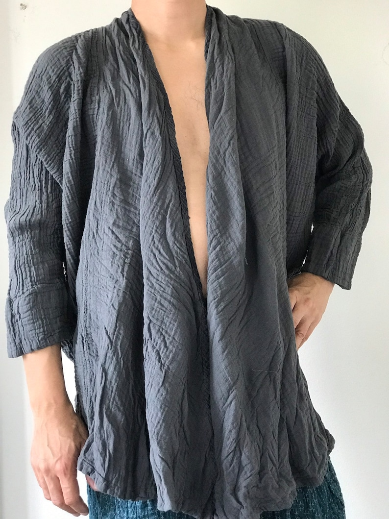 Unisex CG0989 Gray Cotton Gauze Handmade Ethically Comfortable to Wear