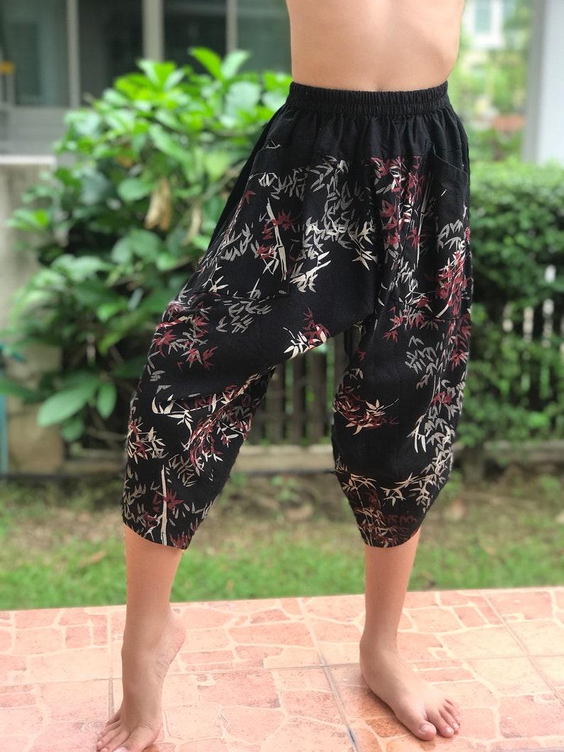 Fits all ! Thick Smock Waist Low Crotch KD0118  Samurai Pants Black and White pants Handmade pants elastic waistband