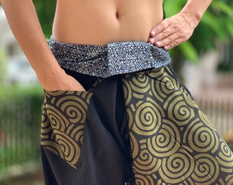 SR0874 Samurai pants with Unique Hilltribe fabric Wrap Around