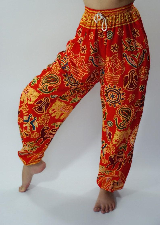 CH0006 Rope and Elastic Waist Lady pants bohemian clothing women yoga pants harem pants hippie trousers