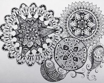 Signed Original Black & White Mandala Celtic Knot Zentange Zen Tangle PaisleyPattern Design