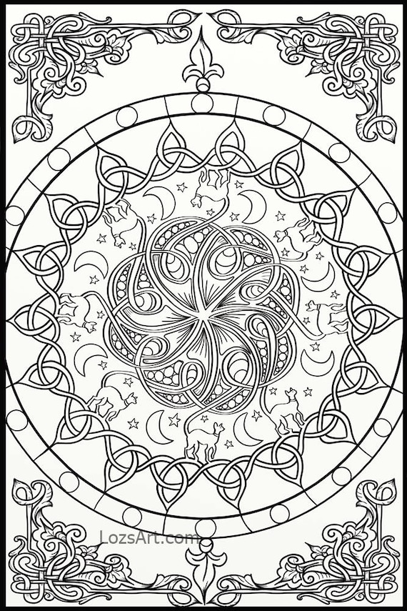 10 X Celtic Knots Mandala Adult Coloring Pages Instant Pdf