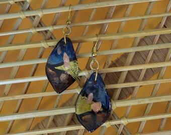 SALE Vintage Marbled Glass Drop Earrings