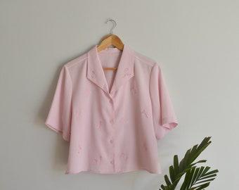 Vintage Women's Light Pink Floral Embroidered Short-Sleeve Blouse   Large   1970's