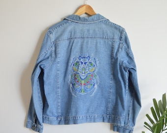 SALE Up-cycled Hand Embroidered Ornate Beetle Denim Jacket   Medium   One of a Kind