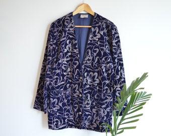 SALE Vintage Women's Navy Blue Velvet Floral Blazer   Large   1980's