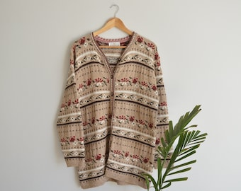 SALE Vintage Women's Beige Floral Knit Cardigan   Large   1990's