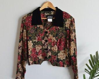 Vintage Women's Floral Velvet Collar Button-up Top   Medium   1980's