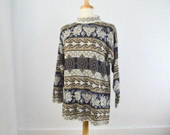 SALE Vintage Unisex Bold Print Turtleneck Sweater   Medium-Large  1980's