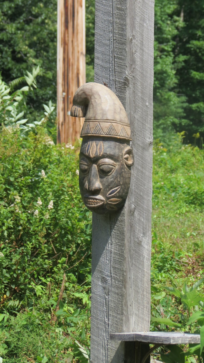 Authentic African Carved Wooden Tribal Mask Accra Ghana Africa