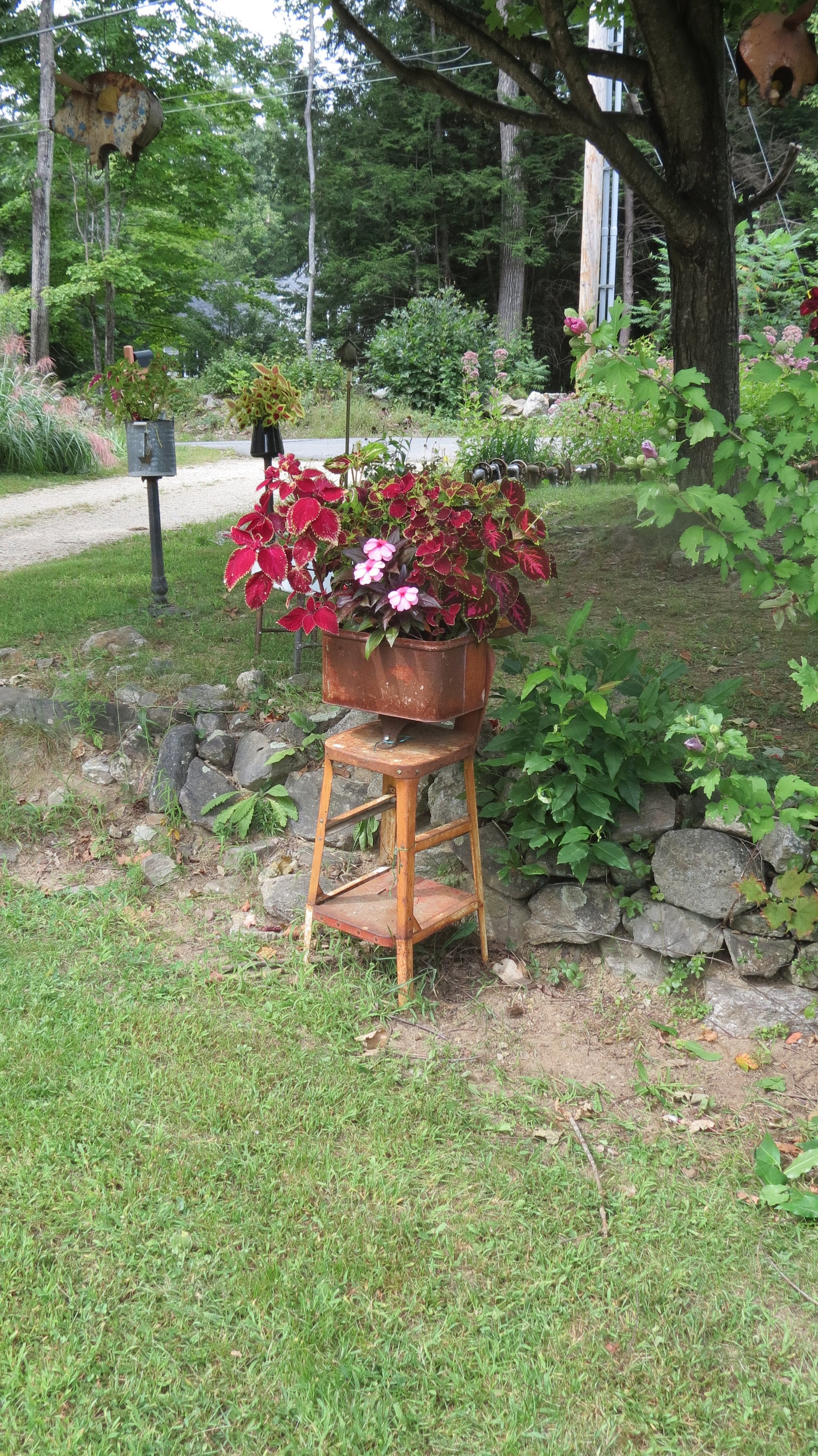 Repurposed Salvaged Planter with Vintage Rusty Metal Stool and