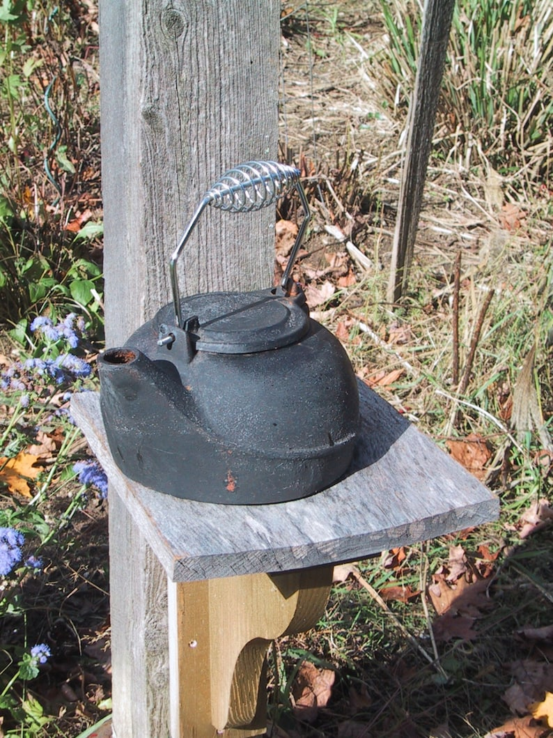 Old Black Cast Iron Tea Kettle