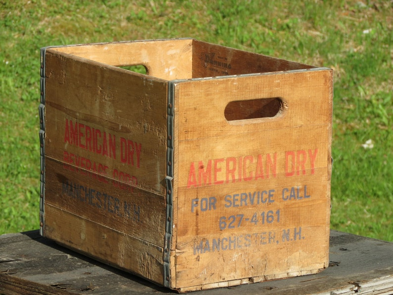 Vintage Wooden American Dry Crate Manchester Nh Etsy