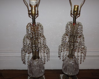 532e80f8f31a Pair of Hollywood Regency Mid Century Vintage Brass Marble Crystal Prism  Fountain Spray Table Lamps