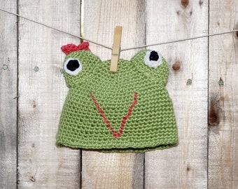 Crochet Frog Hat, Baby Winter Hat//baby hat - baby frog hat - baby crochet hat - baby girl winter hat - baby winter hats - crochet baby hats