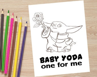 VALENTINE'S DAY Baby Yoda One For Me Coloring Page//Baby Yoda Valentine Download//Baby Yoda Coloring Page//Baby Yoda Printable