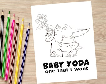 VALENTINE'S DAY Baby Yoda One That I Want Coloring Page//Baby Yoda Valentine's Download/Baby Yoda Printable/Star Wars Coloring/Baby Yoda