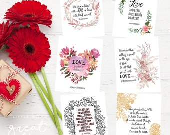 VALENTINE'S 6-Pack of Saint Quotes Cards - Printable/Saint Valentines/Christian Valentines/Catholic Valentines/Love Quotes Valentines