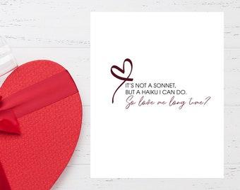 VALENTINE'S Funny Haiku Love Card - Printable//Funny Valentine Card//Haiku Card//Funny Valentine Card Download//Funny Valentine for Partner