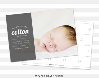 baby boy double sided birth announcement simple baby boy etsy