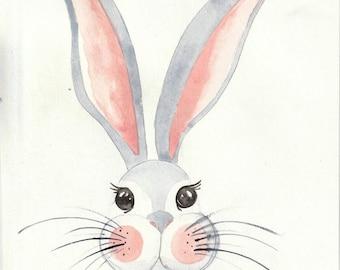 Print - The Sad Little Rabbit - Original Watercolor Print