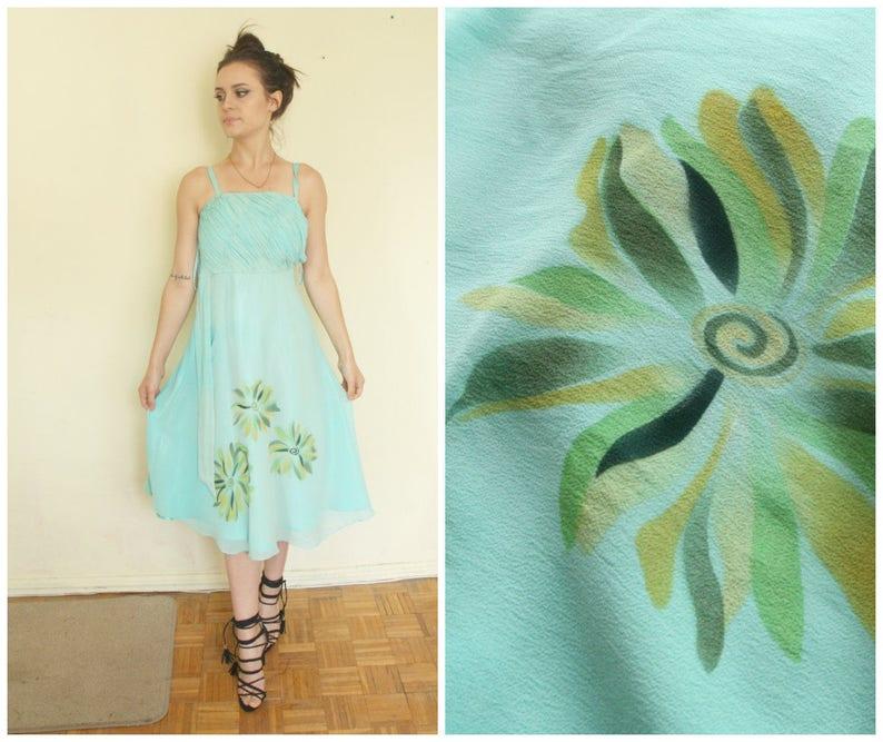 8e172e13bf Jedwabna sukienka mięta ślub XS S mały romantyczny retro