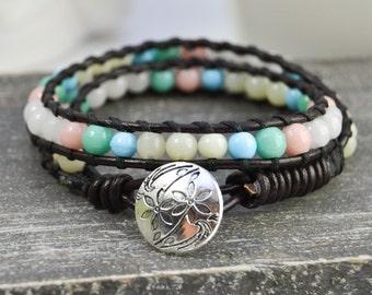 Delicat bracelet Gift for her Stackable bracelet Dinosaur Jasper bracelet Birthstone bracelet Ethnic boho bohemian bracelet