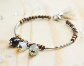 Bracelet fine bone - Bracelet wrap - beads bracelet - stone bracelet - Bracelet shape memory - tube bracelet - Bracelet Stacking