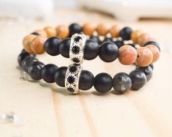 Elastic stretch bracelet in stone and crystal, lavrakite or jasper and onyx, customizable unisex elastic bracelet in gemstone