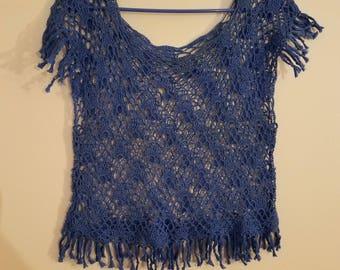 Crochet Blue Lace Top