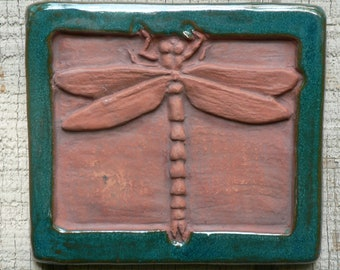 Low-Relief Ceramic Dragonfly Tile