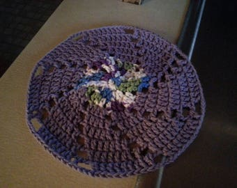 Round Purple crocheted dish cloth