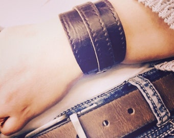 Crop Cuff in Vintage Brumby leather
