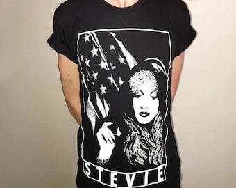 Stevie Nicks of Fleetwood Mac Hand Screen-Printed T-shirt