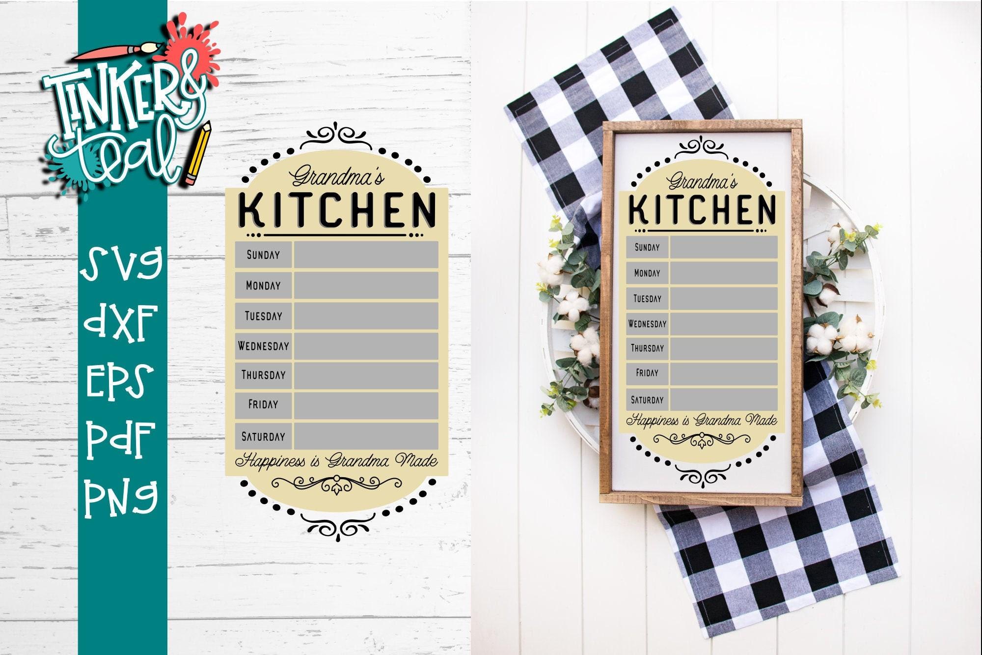 Grandma S Kitchen Svg Menu Svg Kitchen Svg Cut Files Etsy