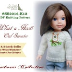 PDF Knitting Pattern #SS2016-K12. What a Hoot! Owl Sweater for 14-14.5-inch dolls like Hearts For Hearts and WellieWishers™