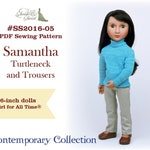PDF Pattern #SS2016-05. Samantha Turtleneck and Trousers for 16-inch A Girl for All Time dolls.