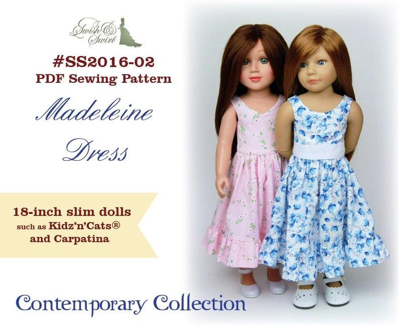 PDF Pattern SS2016-02. Madeleine dress for 18-inch image 0