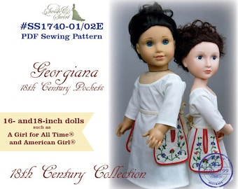 PDF Pattern Bundle #SS1740-01/02E. Georgiana 18th century pockets for 16 and 18-inch dolls such as A Girl for All Time and AG