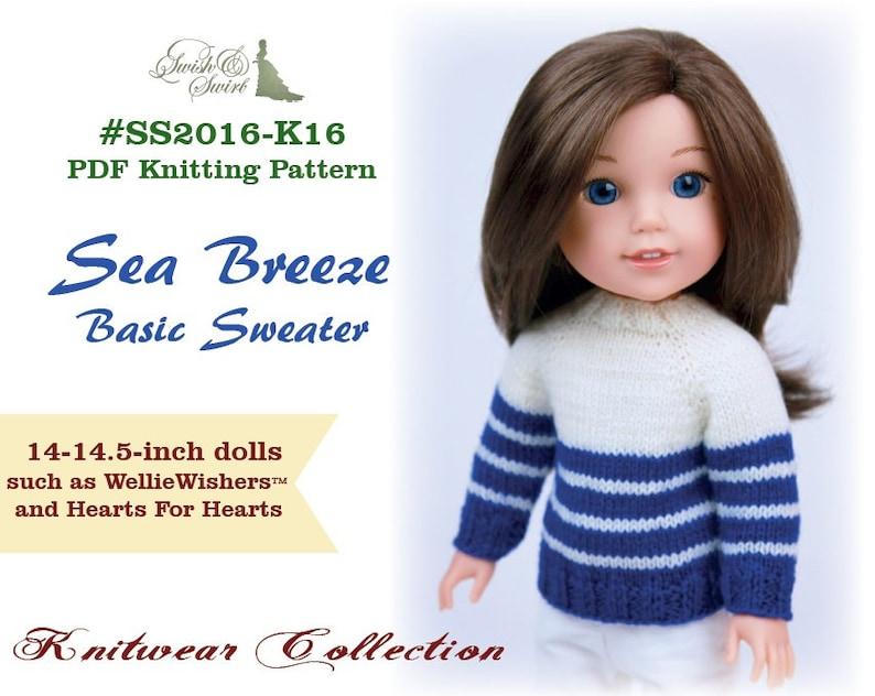 PDF Knitting Pattern SS2016-K16. Sea Breeze Basic Sweater for image 1