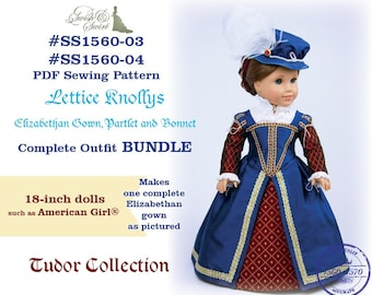 PDF Pattern Bundle #SS1560-03 & #SS1560-04. Lettice Knollys Elizabethan Gown, Partlet and Bonnet for 18-inch dolls such as American Girl®.