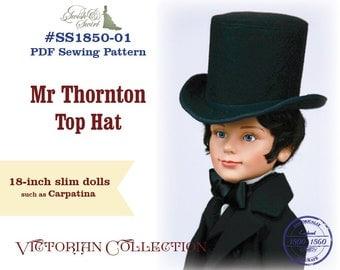 PDF Pattern #SS1850-01. Mr Thornton Top Hat for slim 18-inch Carpatina boy dolls