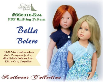 PDF Knitting Pattern #SS2016-K24. Bella Bolero for 18-21.5-inch dolls like Gotz, Zwergnase Junior, Kidz'n'cats, Carpatina.