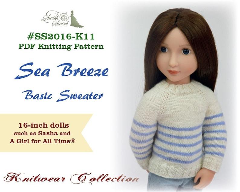 PDF Knitting Pattern SS2016-K11. Sea Breeze Basic Sweater for image 0
