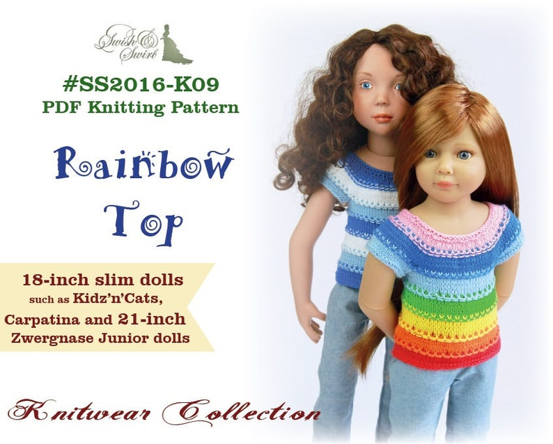 PDF Knitting Pattern SS2016-K09. Rainbow Top for 18-inch slim image 0