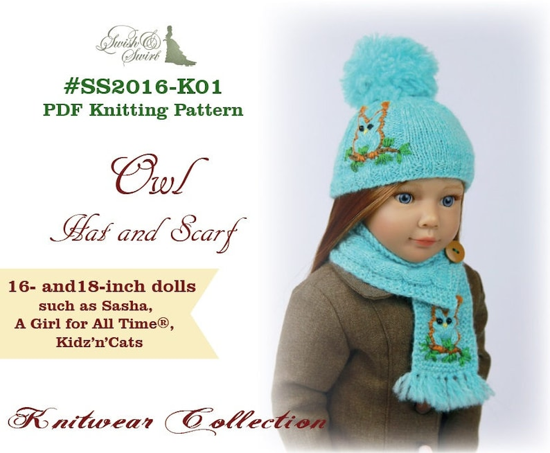 PDF Knitting Pattern SS2016-K01. Owl Hat and Scarf for image 0