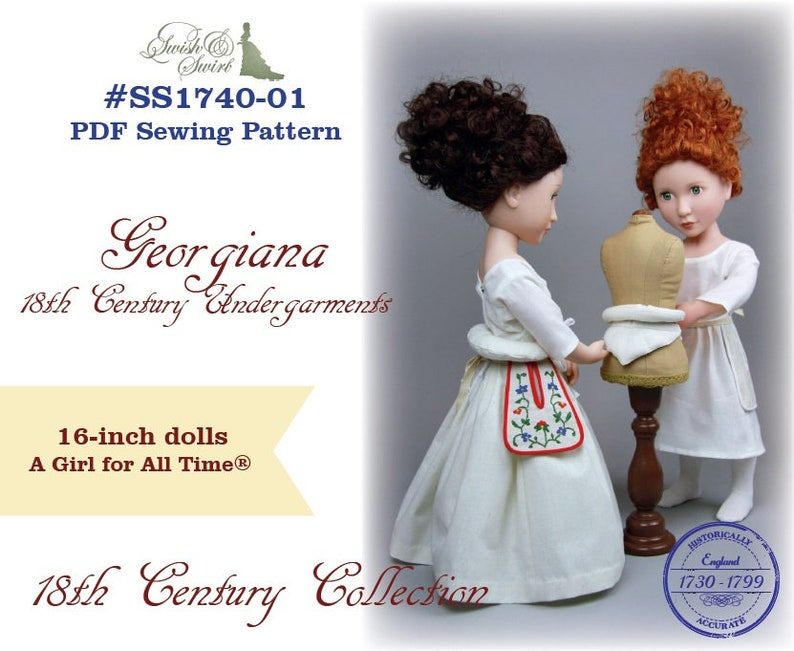 PDF Pattern SS1740-01. Georgiana 18th century undergarments image 0
